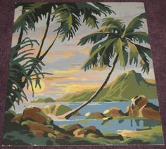 Vintage Tropical Paint by Number Palm Trees Mountain Sunset | eBay