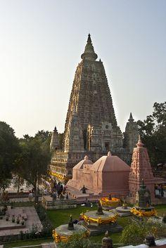 Mahabodhi Temple Complex at Bodh Gaya, Bihar, India by FullofTravel, via Flickr.