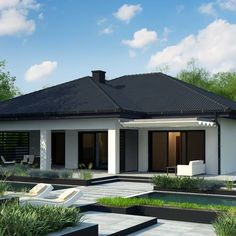 House Design Pictures, Modern House Design, Beautiful House Plans, Beautiful Homes, Two Bedroom House, Concept Home, Modern Exterior, Sliding Glass Door, Minimalist Decor