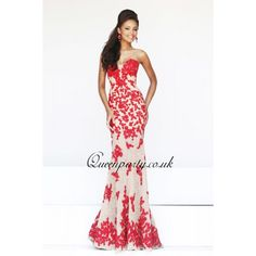 unique prom dresses 2014 | 2014 Designer Strapless Red Long Lace Mermaid Prom Dress - Prom ...