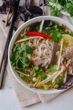 Pho (Vietnamese Beef Noodle Soup), by thewoksoflife Beef Noodle Soup, Beef And Noodles, Rice Noodle Soups, Udon Noodles, Ramen Noodle, Asian Recipes, Healthy Recipes, Ethnic Recipes, Japanese Recipes