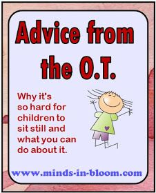 Why it is hard for children to sit still, advice from the OT. This is very interesting @Jamie Whittle  .  It makes complete sense now why Jazmyn and Deven can no sit still at story time. They are actually engaged by the fidgeting ?? Wow..I've been trying to make them sit still :(