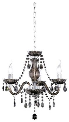 Reality Leuchten R11073002 - Lampadario a corona in acrilico smaltato a 3 punti luce E14 max. 40 W (lampadine non incluse), Ø 40 cm, colore: Nero Branches, Chandelier Lamp, Chandeliers, Led, Decorative Objects, Architecture Design, Bling, Ceiling Lights, Lighting