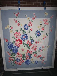 Vintage 1940s/50s Beautiful Cotton Kitchen Tablecloth in Perfect Unused Condition. $35.00, via Etsy.