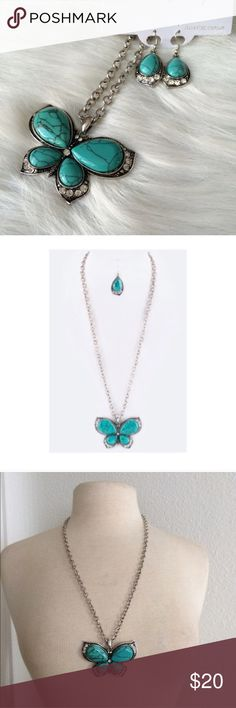"""Butterfly jewelry set Turquoise butterfly necklace set Adjustable clasp closure. This piece has some weight to it. Longest part of pendant is 3"""". Comes with earrings (see photos). Chain length 24"""" (plus additional 2"""" extender) ⭐️This item is brand new with manufacturers tags or in original packaging. 🚫NO TRADES 💲Price is firm unless bundled 💰Ask about bundle discounts Jewelry Necklaces"""
