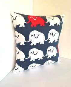 Elephant  Pillow..sprout  design hand screen printed fabric..ready to ship. $25.00, via Etsy.