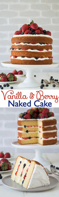 Vanilla and Fresh Berry Naked Cake - 4 layer vanilla cake filled with fresh berries!