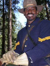 """Shelton Johnson, Yosemite National Park Ranger, in a U.S.Calvary Buffalo Soldier's uniform. (Johnson wrote """"Gloryland,"""" one of the best books I've read this year.)"""