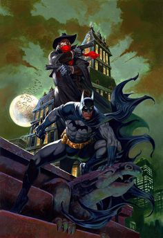 Batman and The Shadow by Rafael Gallur. Gotta wonder how those two would act around each other. Probably very little conversation and a lot of intense staring.