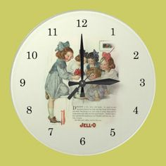 Vintage Wall Clock   A vintage advertisement for Jello is the backdrop for this delightful wall clock. Depicting five children of various ages sitting at the table waiting to be served Jello. A tea party perhaps? A colorful and very cute clock suitable for the kitchen or even a little girl's room.