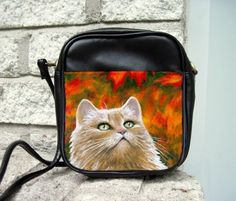 Small Sling Bag Purse Cat 598 Persian Fall Autumn From Art Painting By L.Dumas