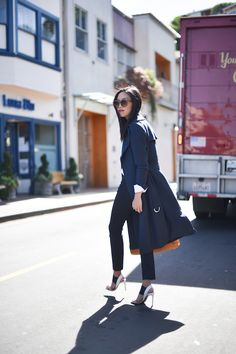 Navy Trench Coat, J Brand Jeans, Vince Sandals