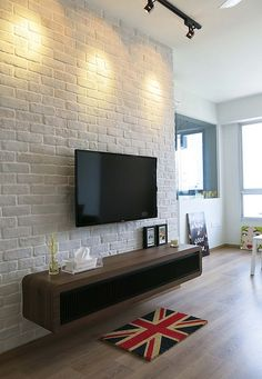 Feature Wall Design for Living Room Fresh 20 Best White Brick Wall Ideas On Internet [best Decor Brick Wall Tv, Brick Feature Wall, Feature Wall Living Room, Living Room Tv Unit, White Brick Walls, Home Living Room, Living Room Designs, Living Room Decor, Living Room Brick Wall