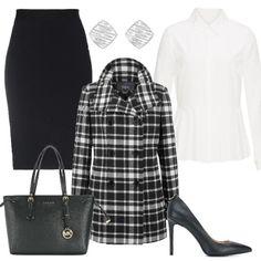 Cappotto scozzese  outfit donna Trendy per ufficio  77635a1cf04