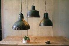 Metal Hanging Pendant Lamp With Green Patina