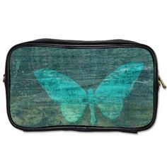 Aqua Butterfly Toiletries Bag (Two Sides)