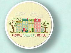 Home Sweet Home. Apartment Living Cross Stitch von andwabisabi, $5.50
