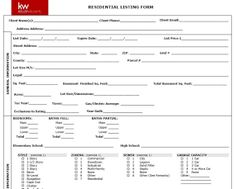 Keller Williams Real Estate Listing Form Tools For By RichAgent RealEstate Organize