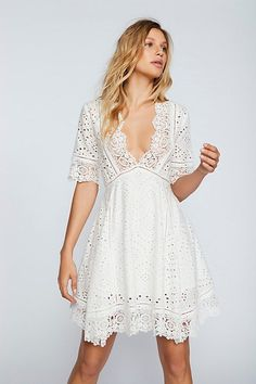 Fit and flare Ivory mini dress featuring allover eyelet detailing. Plunging neckline Scalloped crochet trim Pull-on style Button closure at the back neck Lined Cotton Casual Dresses, Fashion Dresses, Girls Dresses, Summer Dresses, Swing Dress, Dress Skirt, Dress Up, Little White Dresses, White Outfits