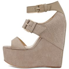 Jimmy Choo Leora Wedge Sandal in Light Khaki ($428) ❤ liked on Polyvore