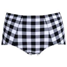 Dolce & Gabbana Beachwear Vichy Gingham High-Waisted Bikini Briefs ($265) ❤ liked on Polyvore