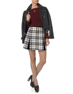 Tartan Wool Pleat Mini Skirt | Carven | Avenue32