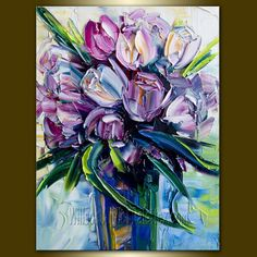 Original Rose Roses Textured Palette Knife Oil Painting Contemporary Floral Modern Art  12X16 by Willson. $105.00, via Etsy.