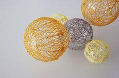 Lisa Solomon - carbon tetracholride, 2011, crochet and glass balls, 16 x 8 x 5 inches