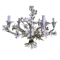Always loved these kind of fixtures but never knew they had a name!  Vintage Italian Tole Chandelier Stargazer Lilies