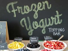 Create your very own frozen yogurt toppings bar. You just need some foam board and a little creativity. #DIY #frozenyogurt