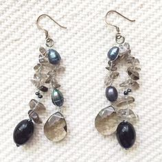 """Freshwater Pearl Earrings Simple and sweet freshwater peal earrings. Total length is 2.5"""". Smokey crystals and green/blue pearls. Handmade, artist unknown. Brand new, never worn. Jewelry Earrings"""