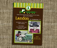 Printable John Deere Birthday Invitation - customized with photos