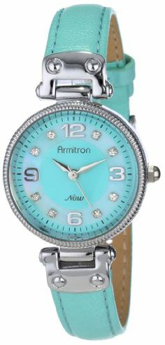 Armitron Women's 75/5080GMSVLG Silver-Tone Swing Lug Light Green Leather Strap Watch Armitron, WOMEN'S WATCHES  if you wish to buy just CLICK on AMAZON right HERE http://www.amazon.com/dp/B00CI04KBK/ref=cm_sw_r_pi_dp_ZzNQsb0ME2CWQAM0