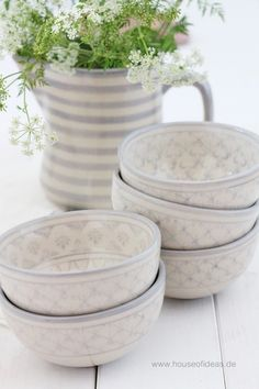 Schale Bunzlauer Keramik Blume grau