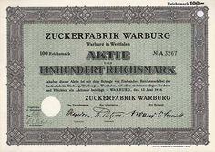 Zuckerfabrik Warburg AG  Aktie 100 RM 12.6.1934 (Auflage 5000, R 2, kpl. Aktienneudruck).