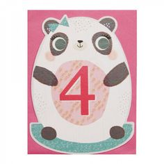 Panda rocking 4th birthday card