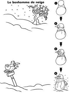 Clique ici pour imprimer le modèle de dessin Le bonhomme de neige !