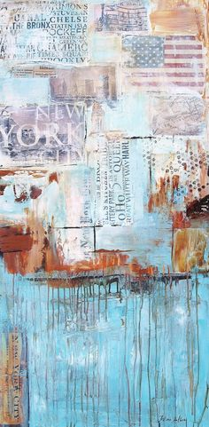 Art painting New York Collage abstract painting , from jolina anthony signet  express shipping on Etsy, $299.00