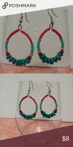 Beautiful Beaded Hooped Dangling Earrings This beautiful pair of earrings will make everyone green with envy when you wear these. Lead free Jewelry Earrings