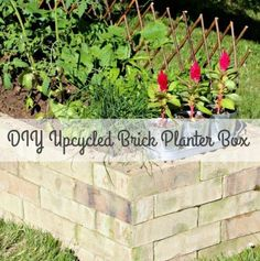 Learn how to make your very own recycled brick raised garden bed, without any grout! #Upcycled #Brick #RaisedGarden #GardenIdeas #PlanterBox