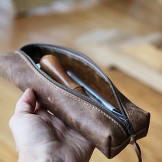 This item ships in 3-5 days.  The Longitude Case in Weathered Leather. A little case with a lot of length. This was made with artists in mind, for keeping drawing pencils and nice pens, but this case could be used for countless things of your liking. They are great for travel too!    Made
