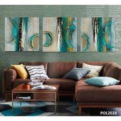 Cuadros Modernos 100x100 Abstractos Tripticos Texturados - $ 2.799,99