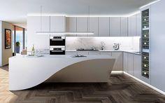 Access luxury kitchen design photo gallery from top interior designers. Contemporary Interior Design, Modern Kitchen Design, Interior Design Kitchen, Luxury Kitchens, Home Kitchens, Home Decor Kitchen, Kitchen Dining, Küchen Design, House Design