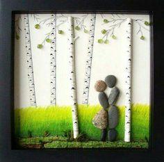 Hermoso cuadro para hacer con materiales naturales como piedras, ramas, hojas secas