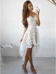 High Low Spaghetti Straps Gorgeous White Lace Prom/Homecoming Dress