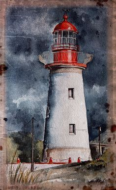 Watercolor lighthouses for print on Behance