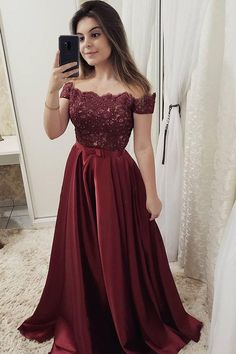 Chic Burgundy Off Shoulder Floor Length Satin Lace Prom Dresses P971  #partydresses #partygown #promdresses #promgown #partygown #promoutfits #partyoutfits #promdresseslong   #promdresses2019