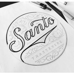 Final logo concept for Santo, restaurant in Rome, opening soon #logo #design #lettering #handlettering #drawing #sketch #graphicdesign #typography #calligraphy #ink #black #customlettering