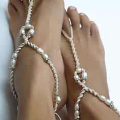 Bridal Barefoot Sandals, White Pearl & Rhinestone, Glamor Anklet, in Ivory/Creme, 1 Pair