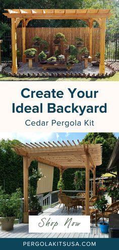 Our Cedar Pergola Kits are customizable and easy to put together anywhere you want it. They will make your backyard into a place you want to entertain friends and family while enjoying the outdoors! #backyardmakeover #backyardretreat #pergolas Cedar Pergola Kits, Wood Pergola, Diy Pergola, Red Cedar Lumber, Outdoor Dining, Outdoor Decor, Base Trim, Backyard Retreat, Western Red Cedar